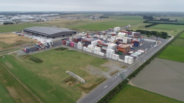 Aerial view of Lyttelton Port Company Midland Port 27ha freight terminal site in Rolleston, south of Christchurch,