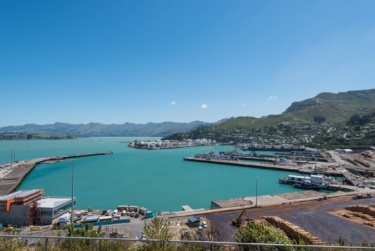Lyttelton Port site on sunny day with view to hills in background