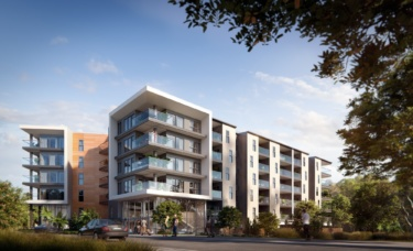 A render of the apartments show a modern, architectural style with warm brown tones and plenty of glass.