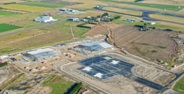 Aerial image of Christchurch International Airport Project Kererū, a parcel logistics area with dedicated taxiway and apron